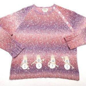 Pink Purple Winter Snowman Snow Theme Knit Sweater